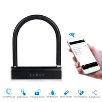 Battery Operated BT Smart Keyless U Type Door Lock APP / Keyboard Password Unlock Anti Theft Padlock for Bicycles Motorcycles