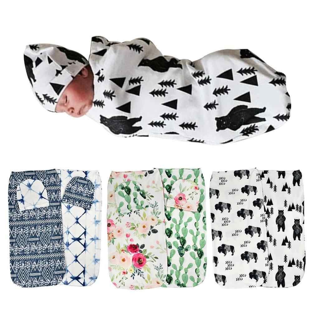 2 sztuk/zestaw Baby Boy Girls Floral Stretch Sleeping Swaddle koc Hat Head Wraped