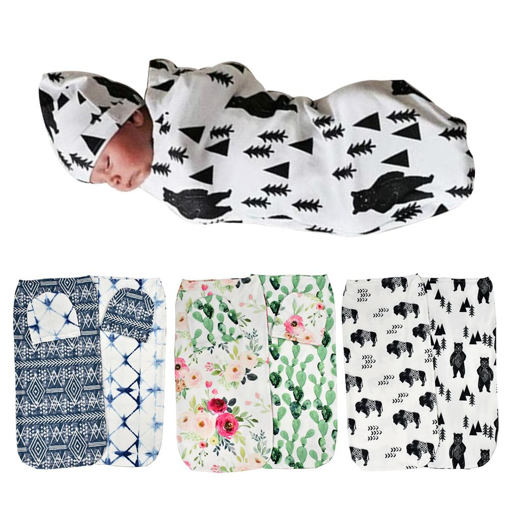 2Pcs/Set Baby Boy Girls Floral Stretch Sleeping Swaddle Blanket Hat Head Wraped