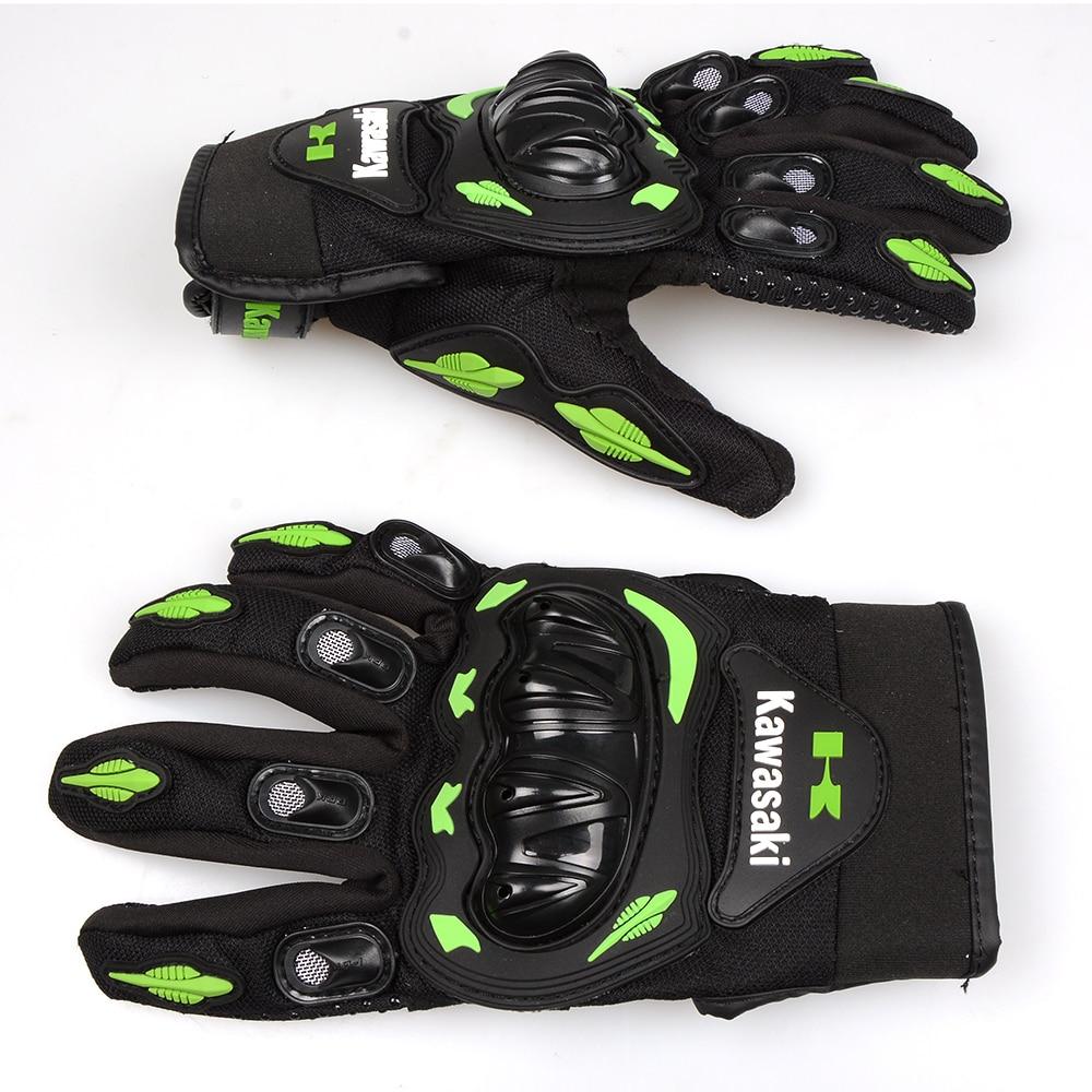 Motorcycle gloves xl - For Kawasaki Full Finger Guantes Motorcycle Gloves Green Colors Motorbike Motocross Motos Protective Gears Glove M
