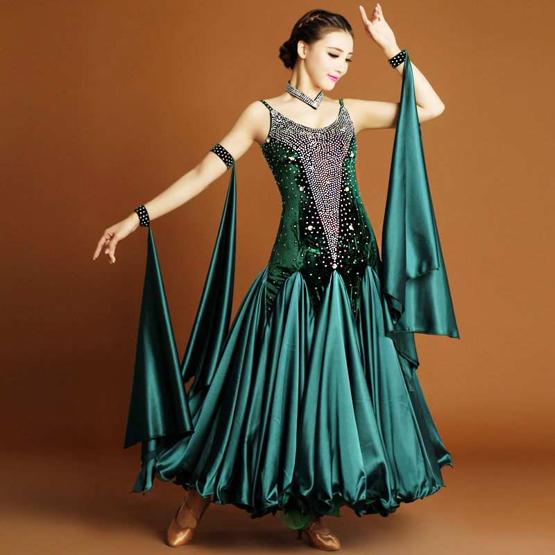 Ballroom Waltz Competition Dance Dress Ladys Brilliant Stage