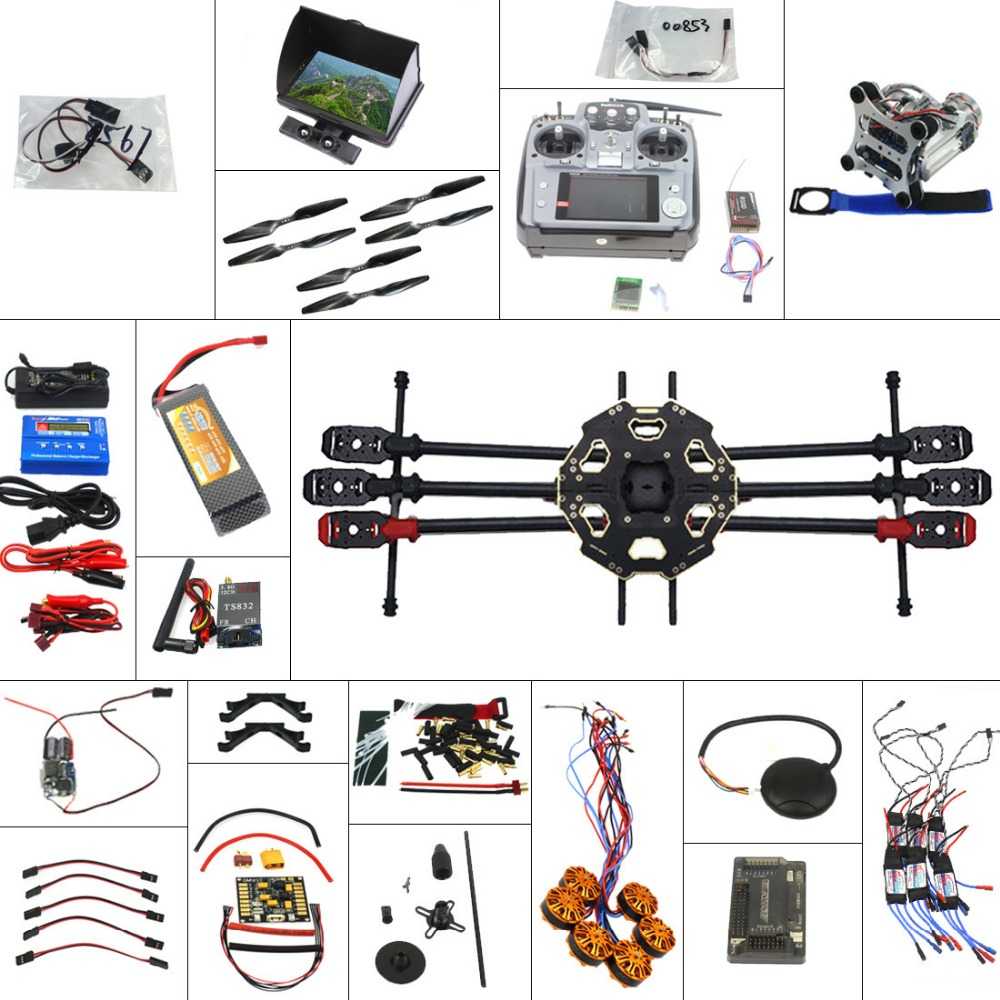Full Set 6-axis Aircraft Kit Helicopter Tarot 680PRO Frame APM 2.8 Flight Control AT10 Transmitter with FPV function tarot tl68b14 6 axis aircraft hexcopter fy680 fy650 inverted battery rack ship with tracking number