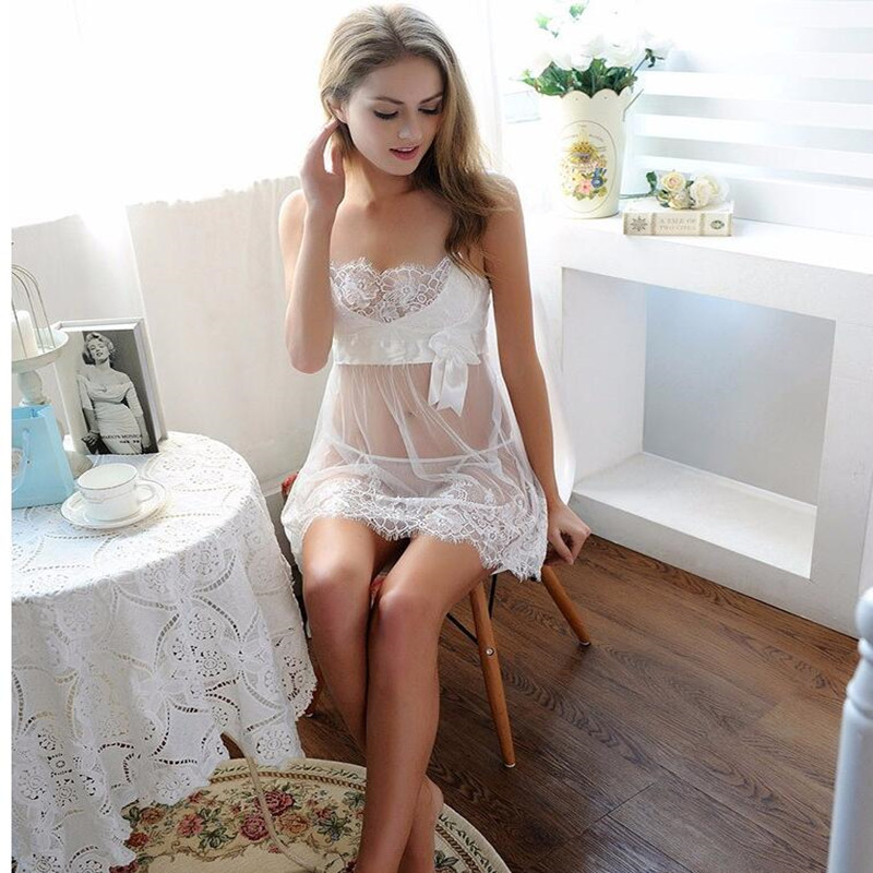8a262f7d64e3c Aliexpress.com   Buy E564 Plus Size Lingerie Sexy Lace Women Soft Nightwear  Dress With G String White Lace Babydoll Bride Lingerie from Reliable  nightwear ...