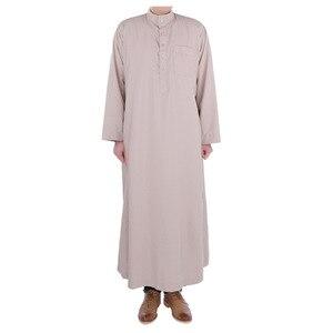 Image 1 - Wyprzedaż wiele kolorów saudyjskiej suknia islamski THOBE muzułmański bliski wschód mężczyźni poliester mieszane bawełna katar szata