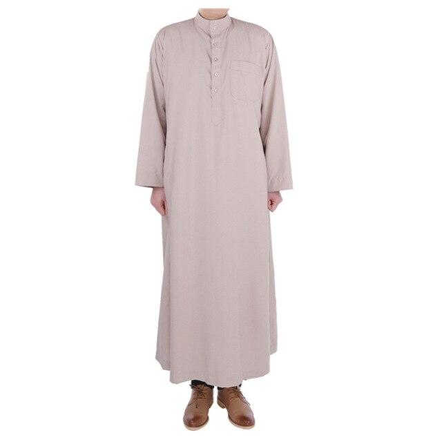 Wyprzedaż wiele kolorów saudyjskiej suknia islamski THOBE muzułmański bliski wschód mężczyźni poliester mieszane bawełna katar szata
