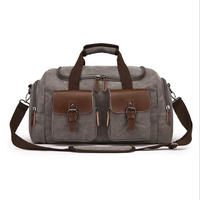 Canvas Leather Big Duffle Bag Men Travel Bags Carry on Travel Luggage Bags Large Road Weekend Tote Handbag