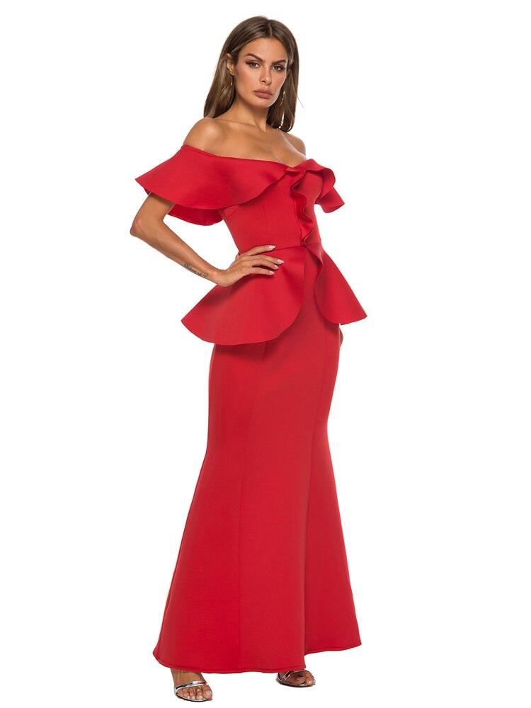 Для женщин Макси Вечерние красное платье поддельные комплекты из двух предметов с открытыми плечами пикантные оборками Тонкий элегантный ...