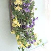 1 Pc 39.3 ''מלאכותי גפן קיסוס 4 צבעים אמיתי מגע עלווה מזויף פרח לקישוט מסיבת חתונה בית