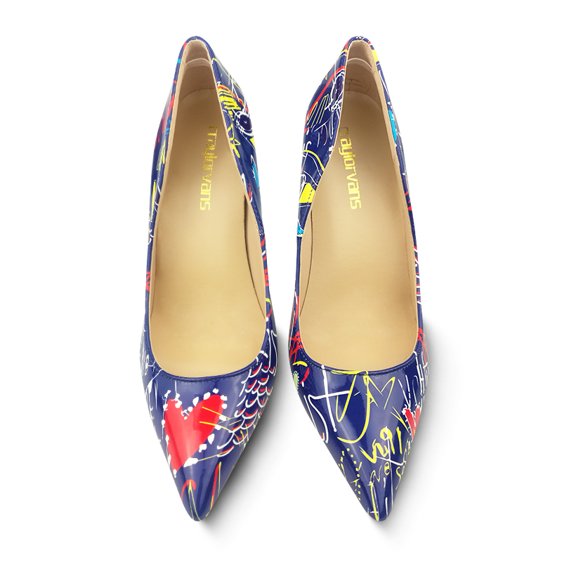 Height Feminino Pumpt Height 8cm Craylorvans Heels 2018 Blue 12cm High Heel Frauen Bunte Schuhe Graffiti Height Frühjahr Sapato 10cm Sexy Hochzeit Stiletto wq6H1qXg