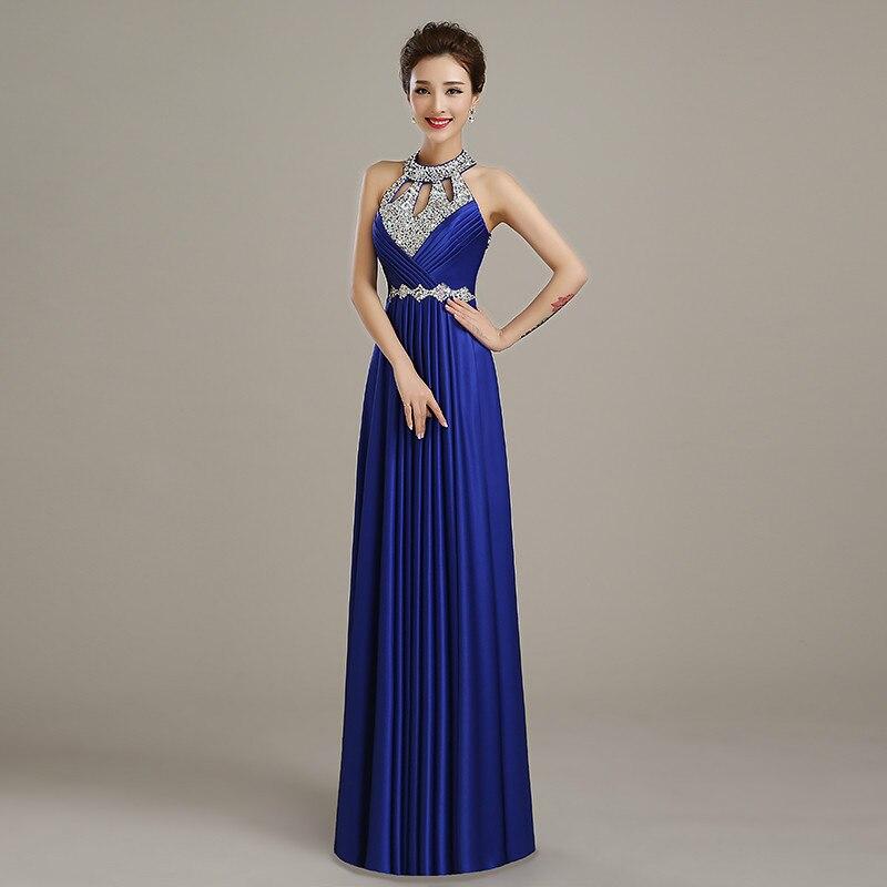 Вечернее платье,, длина до пола, сатиновые Сексуальные вечерние платья для выпускного вечера, элегантные длинные вечерние платья - Цвет: dark royal blue