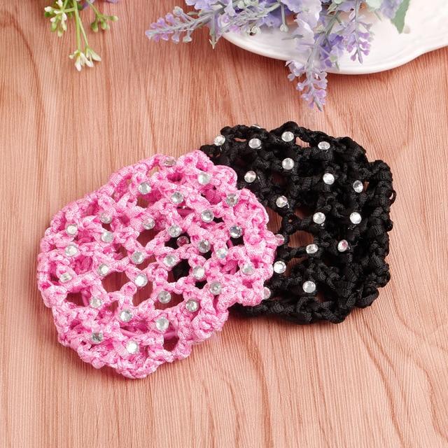 Women Girls Rhinestone Bun Cover Crochet Cover Snood Pink Hair Net