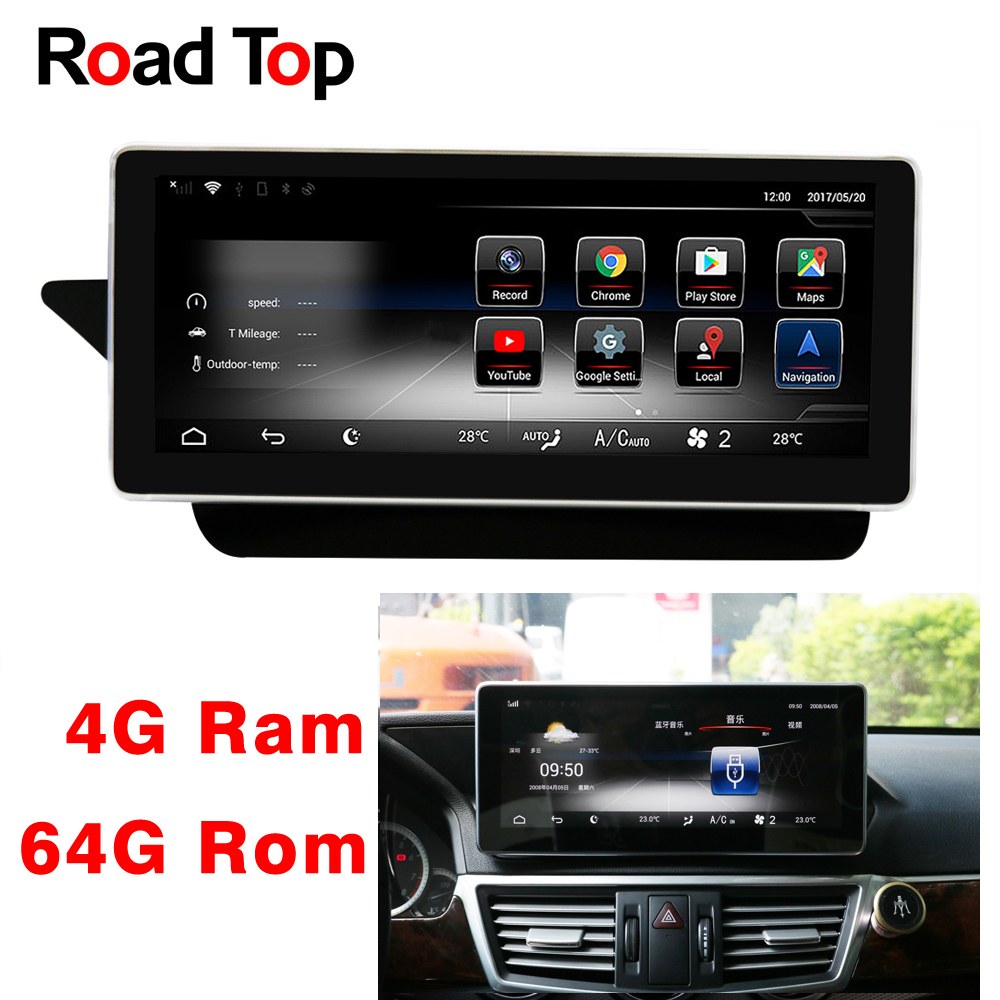10.25 Android 8.1 Octa 8-Core CPU 4+64G Car Radio GPS Navigation Bluetooth WiFi Head Unit Screen for Mercedes Benz E W212 S212