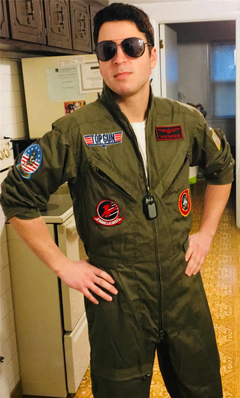 00cf7b172384 ... Top Gun Men Flight Suit Airman Costume Halloween Party Cosplay  Policeman Special Forces Jumpsuit Role Play ...