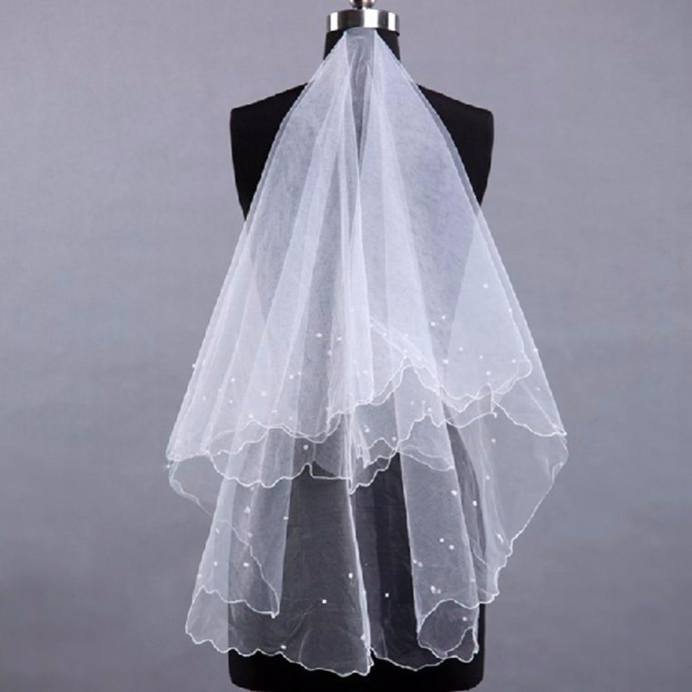1.5 M Woman White Wedding Head Yarn Veil Pearl Short Veil Beige Wedding Bridal Veil Long Trails Accessories Welon Voile Mariage