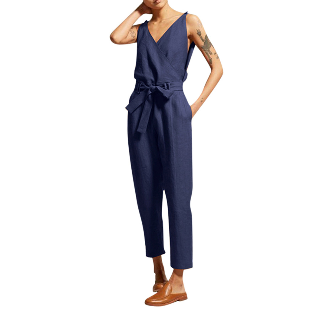 Jacosin clothes Women Casual playsuit Solid Sleeveless V-Neck Belt Slim Plus Size Linen Long Pockets   Jumpsuit
