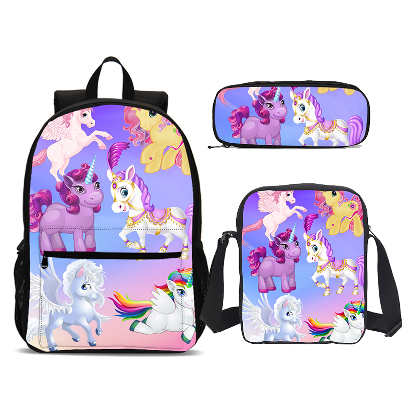 3Pcs/Set Portfolio School Bags For Girls Boys Cute Cartoon Horse 3D Printing Bookbag Teenager Children Satchel Mochila Escolar3Pcs/Set Portfolio School Bags For Girls Boys Cute Cartoon Horse 3D Printing Bookbag Teenager Children Satchel Mochila Escolar