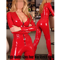 Fancy Fashion Women Red Latex Lingerie Faux Leather Zipper Catsuit PVC Erotic Bodysuit Sexy Body Femme Costumes Bandage Jumpsuit