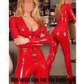 Fantasia Moda Feminina Red Lingerie De Látex Catsuit Do Falso Couro Com Zíper PVC Trajes Bandagem Macacão Bodysuit Erótico Corpo Sexy Femme