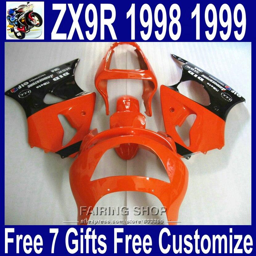 Belle carénage kit ZX9R 1998 1999 98 99 Pour Kawasaki ninja (Rouge noir + autocollant) Complet en plastique pièces carénages xl26