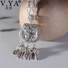 Pendant Necklace Chain Jewelry Retro Sterling-Silver S925 Women Tassel V.YA with Elegant