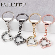 Shining Rhinestone Keychain Floating Locket Cute Love Jewelry Mothers Day Gift Silver Rose Gold Color Key Chain Photo