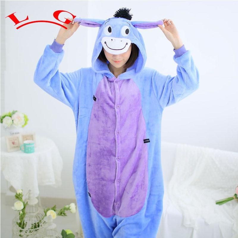 L G Cartoon Animal Cosplay Eeyore Donkey Onesies Pajamas Jumpsuit Hoodies Adults Cos Costume for Halloween and Carnival