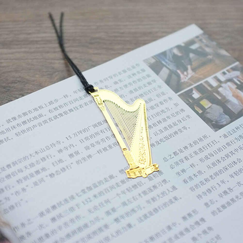 Carino Kawaii Metallo Dorato Musica Segnalibri Pianoforte Chitarra Tromba Disegni Libri Marks Corea Cancelleria Scuola Regali Decor Libro di Mark