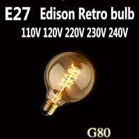 LightInBox Handmade Glass Edison Bulb 40W 220V Pendant Lamps G80 Vintage Retro E27 Spiral Incandescent Light