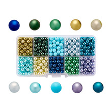 Mixed Pearlized Round Glass Pearl Beads, Dyed, Mixed Color, 6mm, Hole: 1mm; about 600pcs/box 1box mixed style round glass pearl beads mixed color crafts jewelry diy maker supplies hot sale