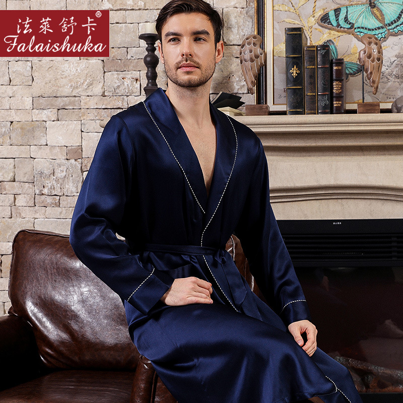 2019 Noble 100% Real Silk Robes Men Simple Long Sleeve Sleepwear Male Home Robes Casual Fashion Elegance Men Robe New