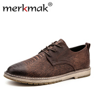 Merkmak 2018 Luxury Men Shoes Men Genuine Leather Oxford Shoes Men's British Style Pointed Toe Retro Shoes Lace Up Casual Shoes