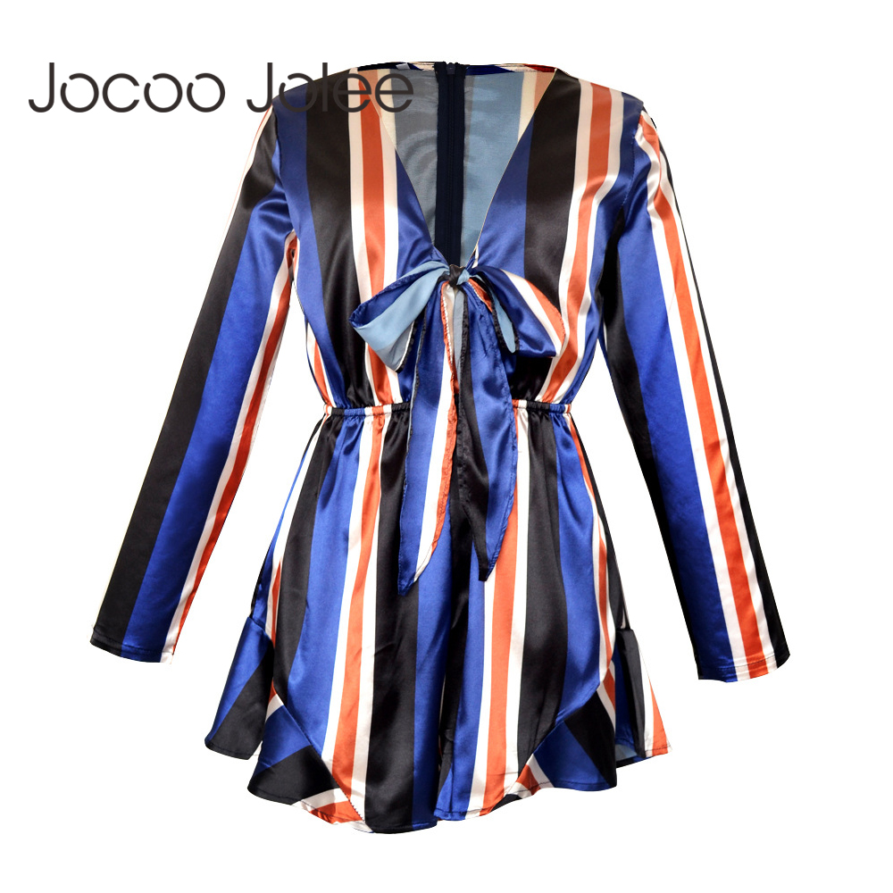 cc1e6077775 Jocoo Jolee Women Plunging Neck Bowknot Striped Jumpsuit Stripe Long Sleeves  Mini Casual Female Vestido Fashion Summer New