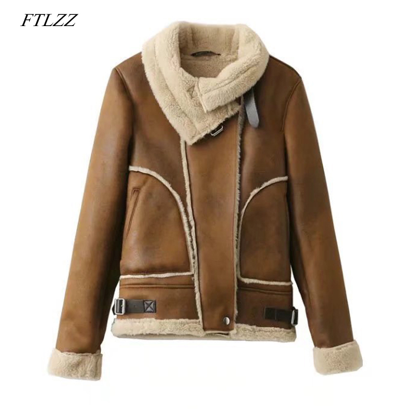 FTLZZ Winter Women Faux   Leather     Suede   Lamb Fur Jacket Coat Warm Thick Biker Zipper   Suede   Female Jacket Casual Outwear