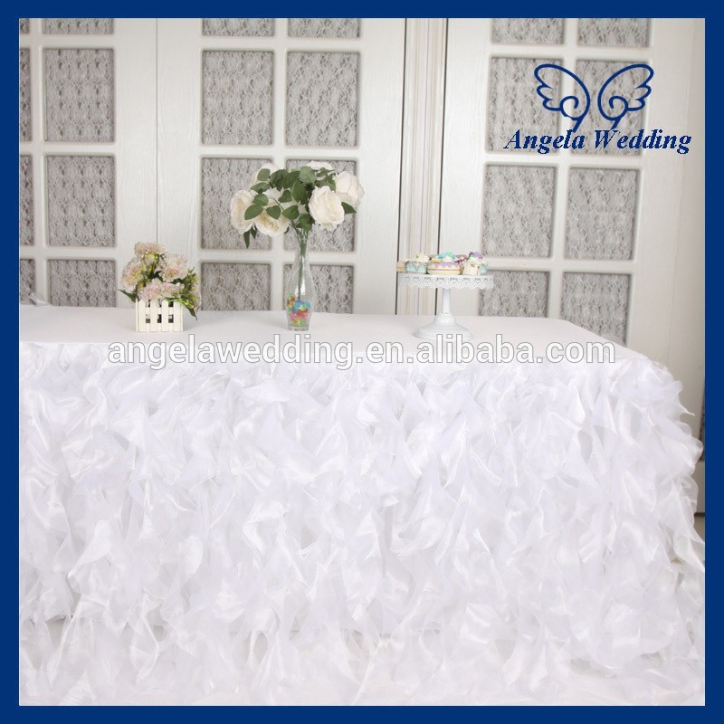 CL010K Nice wedding 6ft rectangle 90 132 white curly willow table cloth