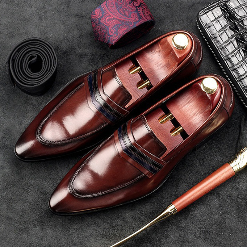 Luxury Italian Designer Man Casual Shoes Genuine Leather Height Increasing Dress Loafers Pointed Toe Men s