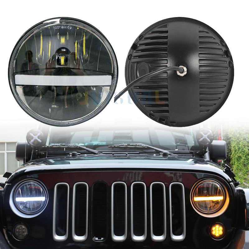 Pair 36w For Nissan Patrol Y60 Hummer H1&H2 Patrol Y60 7 Round LED Headlight For Jeep Wrangler TJ JK LJ CJ 2D 4D 7inch Led fashion tassels ornament leopard pattern flat shoes loafers shoes black leopard pair size 38