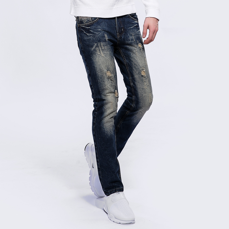 2017 Slim Fit Denim Jean Pants High Quality Mens Blue Jeans Ripped Trousers Male Superstar Dsel Brand Jeans Men With Logo S608 patch jeans ripped trousers male slim straight denim blue jeans men high quality famous brand men s jeans dsel plus size 5704