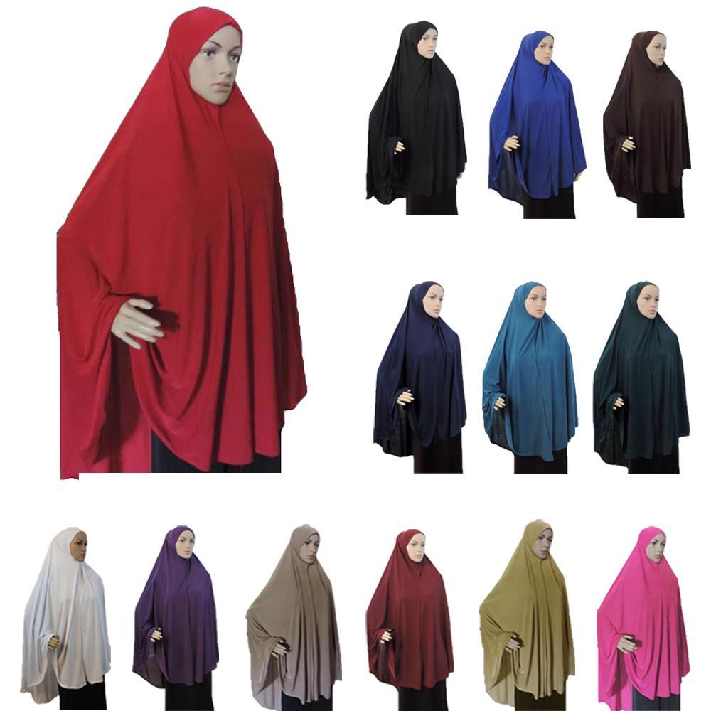 One Piece Full Cover Chest Hijab Muslim Women Prayer Dress Long Scarf Khimar Hijab Islam Large Overhead Clothing Jilbab Arab New