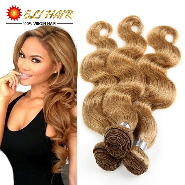 Eli Blonde Hair 4 Bundles Brazilian Virgin Hair Weave Bundles Body