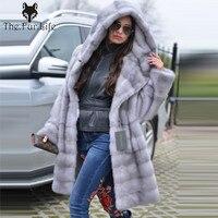 New Arrive Grey Luxury Mink Fur Coat Hooded For Women Warm Loose With Belt Natural Mink Fur Jackets Female Big Sale
