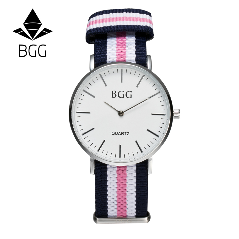 Classic Nylon stripes band Women s Fashion Watches BGG Brand Simple Ultra thin Quartz Watch Women
