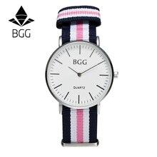 Classique Nylon rayures bande de Femmes De Mode Montres BGG Marque Simple Ultra mince Montre À Quartz Femmes Montre-Bracelet Décontracté Horloge Cadeaux