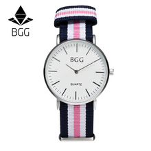 Classic Nylon stripes band Women's Watches 2016 BGG Brand Simple Ultra thin Quartz Watch Women Casual Wristwatch Clock