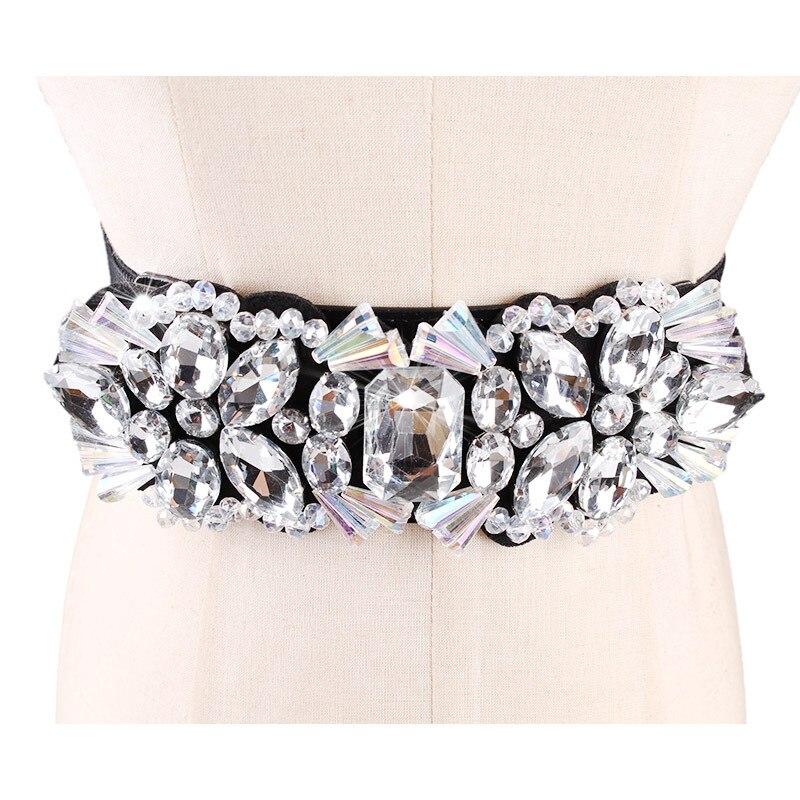 2019 Women White Crystal Elastic Cummerbunds Belt For Women Rhinestone Studded Flower Narrow Belts Bride Femme Slim Waist-Shaped