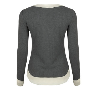 Sweater Women Flannel V Neck Long Sleeve Casual Curve Hem Sweater Women Fashion Patchwork Tops Grey White #xqx