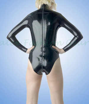 Long sleeved Sexy Black Latex swimsuit with zip at back High collar leotard Rubber bodysuits jumsuit plus size