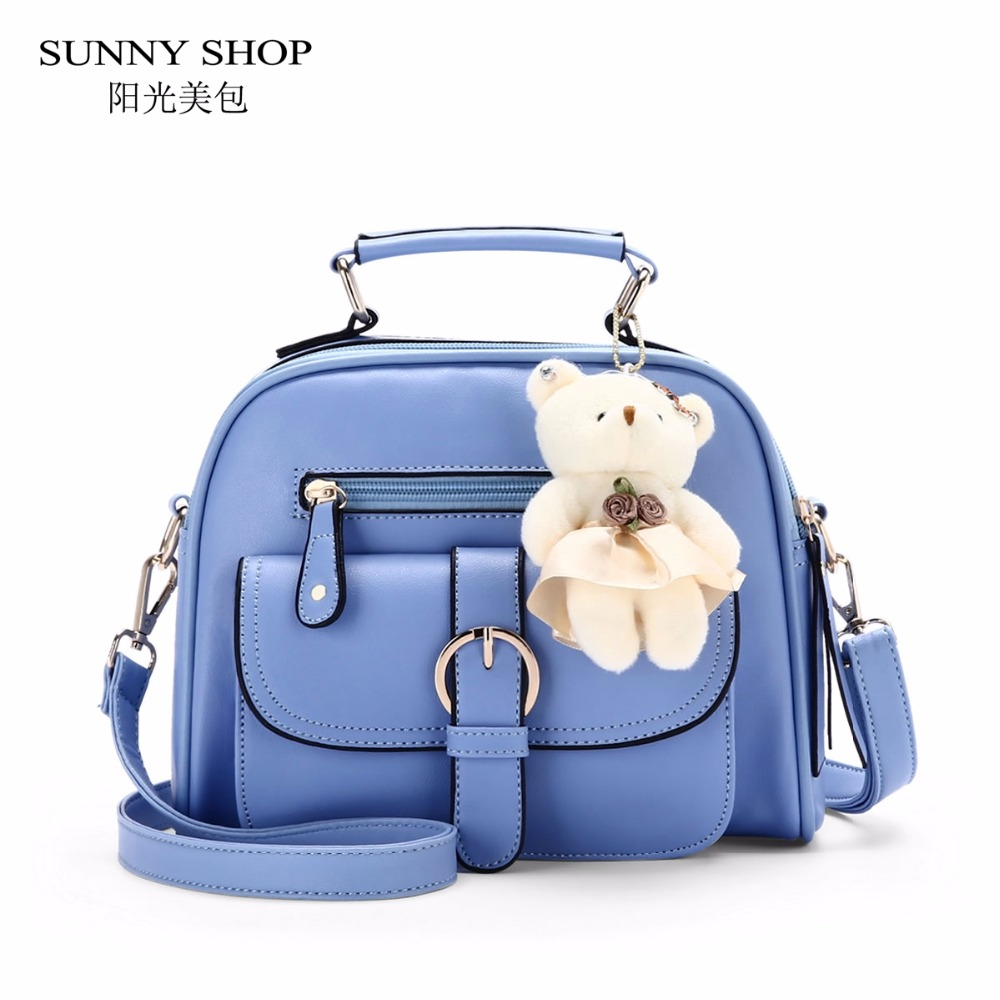 SUNNY SHOP Candy Color Cute Shoulder Bags With Bear Charm Women Small Messenger Bags Zipper Christmas Gifts For Teenage Girls sunny shop candy color cute shoulder bags with bear charm women small messenger bags zipper christmas gifts for teenage girls