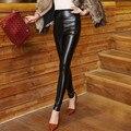 Новинка женские брюки свободного покроя пу кожаные леггинсы брюки карандаш тощий высокой талии эластичный Pantalon Feminino большой размер