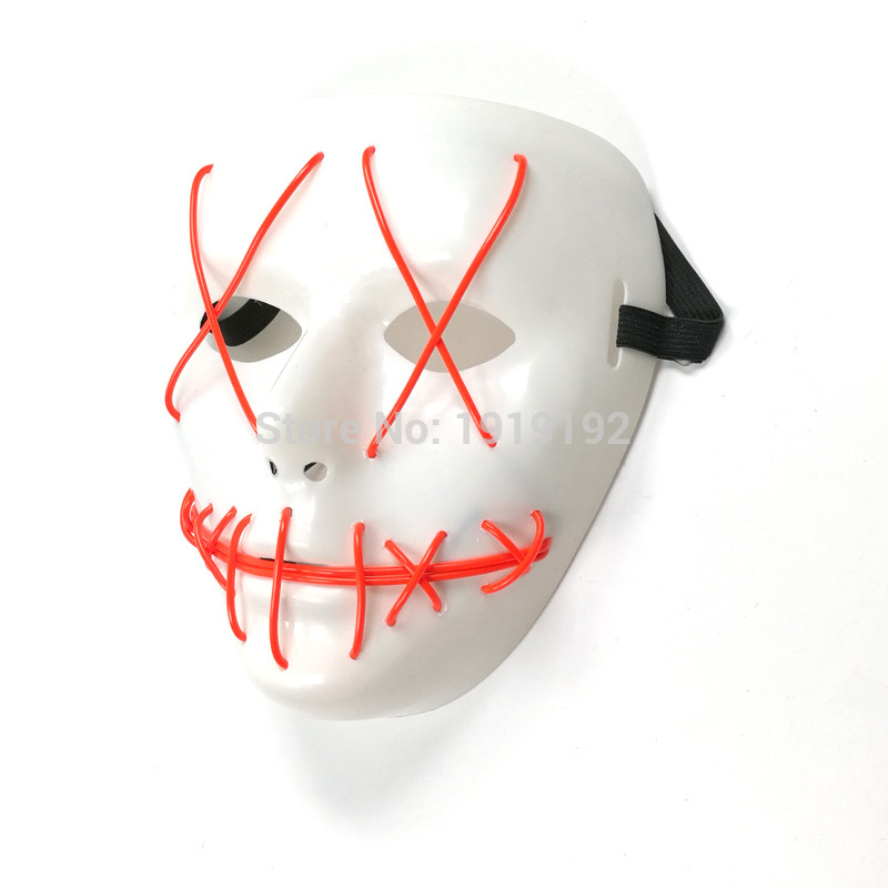 EL Wire Halloween Slit Mouth Mask Neon LED <font><b>Light</b></font> Up Mask Flashing Carnival Masks with Sound Activated for Halloween Festival