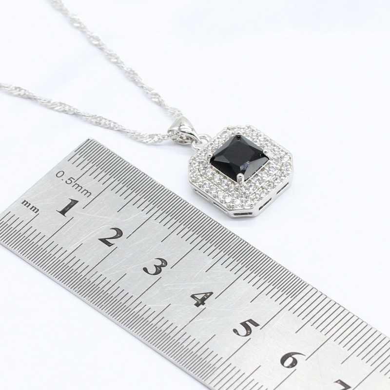 Warna Perak Perhiasan Set untuk Wanita Hadiah Hitam Semi Mulia Kalung Liontin Anting-Anting Anting-Anting Cincin Gelang 2018 Baru